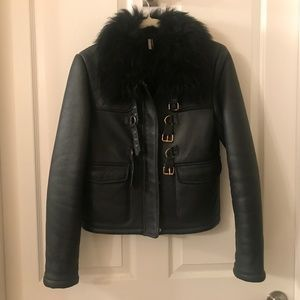 TOPSHOP Leather/Shearling Jacket